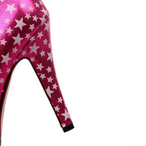 Rond Cuir Femme Mélangées Tire Couleurs VogueZone009 à Pu Cramoisi Talon Haut Légeres Chaussures qYF6B