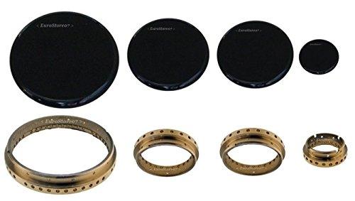 Foster spartifiamma anello + piattello smaltato nero lucido per cucina a gas 4 fuochi 1 g + 2 medi + 1 piccolo cod s 4722