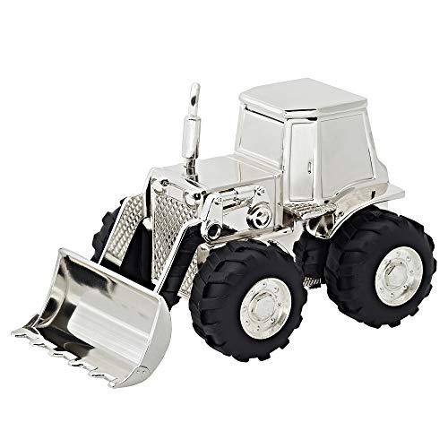 EDZARD Spardose Traktor Trecker, edel versilbert, anlaufgeschützt, Höhe 9 cm