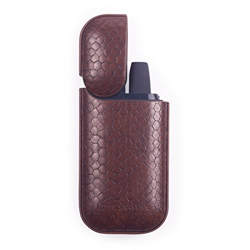 ICCESSOIRE - Case PU Leder Croco Optik für iQOS, Schutzhülle Struktur (Braun)
