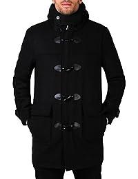 KRISP® Hommes Manteau Chaud A Capuche Classique Noir Uni