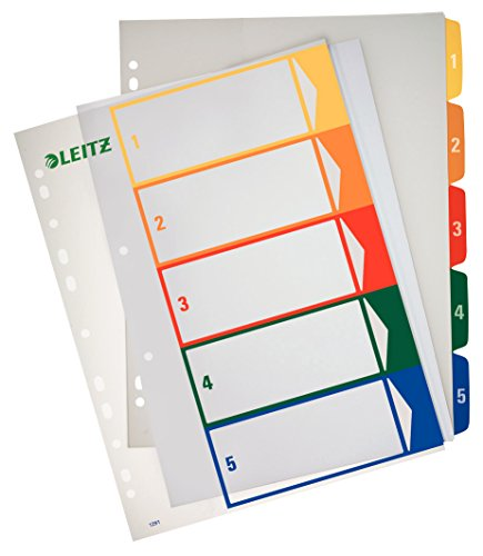 Preisvergleich Produktbild Leitz Register PC-beschriftbares/1291-00-00 A4, farbig/transparent 1-5