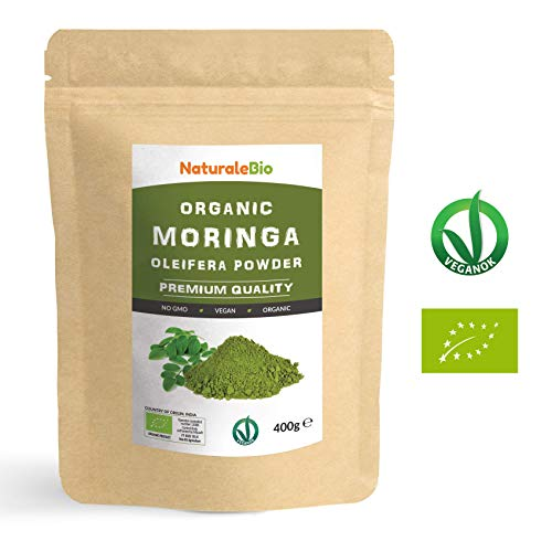 Organic Moringa Oleifera Leaf Powder [ Premium Quality ] 400g | 100% Bio, Raw and Pure | Leaves Picked from The Moringa Oleifera Plant | Superfood Rich in Antioxidants and Nutrients | NATURALEBIO