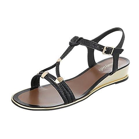 Keilsandaletten Damen-Schuhe Plateau Keilabsatz/ Wedge Keilabsatz Schnalle Ital-Design Sandalen / Sandaletten Schwarz, Gr 39,