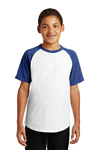 Sport-Tek yt201 Jugend Short Sleeve Colorblock Raglan Jersey Gr. Large, White/Royal (Colorblock Raglan-jersey-shirt)
