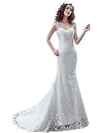 fa1ae09e2 Beauty-Emily Vestidos de boda de la Corte Sirena del cordón sin mangas con V