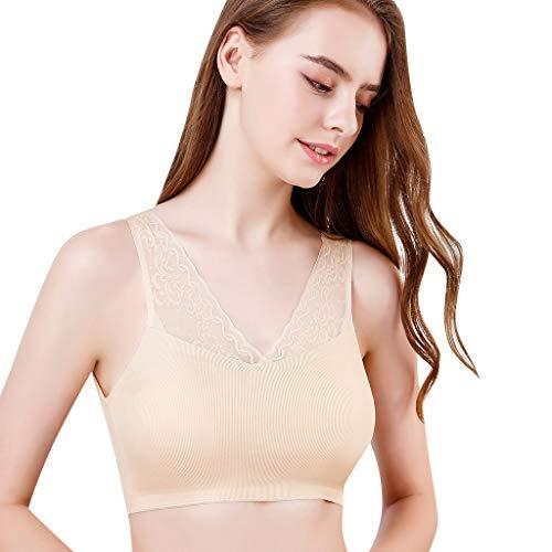 Leichte Soft-cup Bh (Damen UnterwäSche BH, Damen Sport BH Intimates Wireless Vest Lace Atmungsaktive Back Fitness Lady Bras (One Size, Beige))
