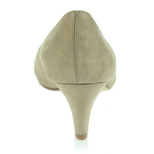 Femmes Dames Soir Décontractée Diamante Crossover Talon Moyen Des Sandales Chaussures Taille Beige