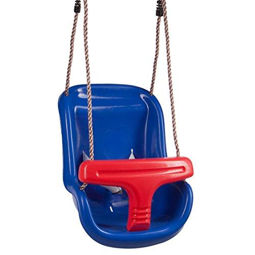 Ultrakidz Baby-Schaukelsitz Basic mit Schutzbügel und Gurt, Baby Schaukel, Kinderschaukelsitz aus Kunststoff Inklusive Hängeseil, witterungsbeständig, Blau/Rot