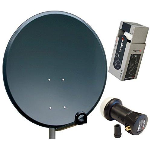 PremiumX PXS60 Sat Antenne Schüssel aus ALU FullHD HDTV 4K Satelliten Camping Spiegel inkl. Single LNB 0,1dB in Anthrazit 60cm Sat-hdtv-antenne