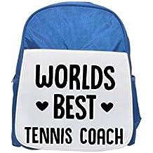World 's Best tenis Coach Printed Kid' s blue Backpack, cute Backpacks, cute small Backpacks, cute Black Backpack, Cool Black Backpack, Fashion Backpacks, Large Fashion Backpacks, Black Fashion BACKPAC
