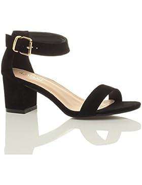 Donna tacco medio fibbia punta aperta caviglia cinghietti sandali taglia