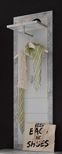 AVANTI TRENDSTORE - Solaika - Arredamento da Ingresso, in Laminato di Grigio Cemento d'imitazione e Colore Bianco Lucido (Pannello Guardaroba)