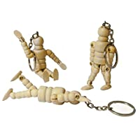 3 x 2.5inch Keyring Wooden Lay Manikin Artists Male Art Figure Craft Moveable Key Ring