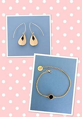 Parure boucles d'oreilles et bracelet doré et noir, bijoux dorés, bijoux en acier inoxydable, parure bijoux femme, idée cadeau