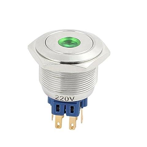 sourcingmap® AC 220V 25mm Diamètre Point Tête métal momentané bouton poussoir Interrupteur Lumière vert
