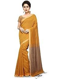 Bengal Handloom Traditional Handloom Plain SiCo Grey Colour Ghicha Saree