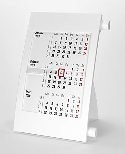 HiCuCo 3-Monats-Tischkalender für 2 Jahre (2020 und 2021) - Aufstellkalender - mit Drehmechanik - weiß - TypD2