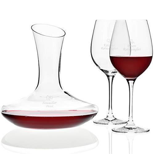 Rotwein-Set mit Gravur | edles Dekanter und 2 Rotweingläser mit Wunsch-Namen ALS Geschenk für...