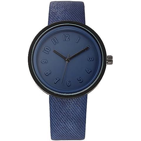 pkaty Unisex moda ocio fácil estilo PU Cuero Banda Cuarzo muñeca relojes para hombres/mujeres con Lovely