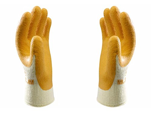 Showa 310L Naranja 10Gauge poliéster algodón Guante Con Revestimiento De Látex En Palma, L, color naranja