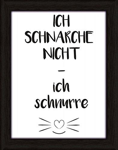 Artland Wand-Bild Poster Kunstdruck mit Rahmen Joana Ich schnarche nicht – ich schnurre Statement Bilder Sprüche & Texte Digitale Kunst Schwarz C7LQ