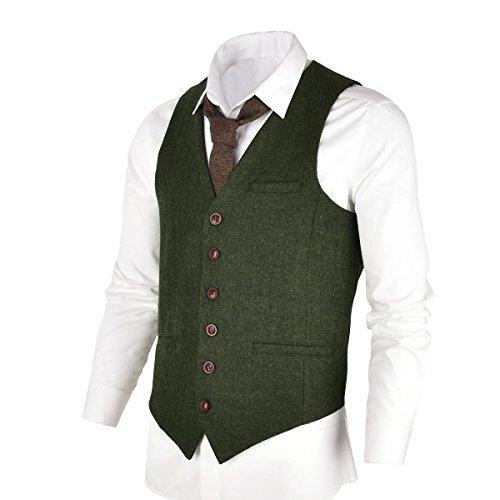 VOBOOM Herren Slim Fit Tweed Anzug Premium Weste aus Wollmischung mit Fischgrätmuster