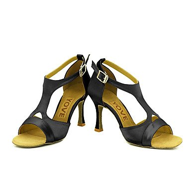Scarpe da ballo-Personalizzabile-Da donna-Balli latino-americani / Salsa-Tacco su misura-Raso-Nero / Blu / Giallo / Rosa / Viola / Rosso Yellow