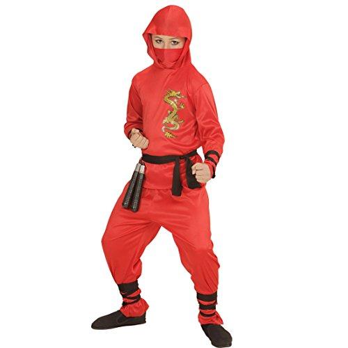 Amakando Ninjakostüm Samurai Rotes Ninja Kostüm Kind S 128 cm Kung Fu Jungenkostüm Krieger Soldatenkostüm Junge Kampfsport Kinderkostüm Kinder Faschingskostüm Soldat