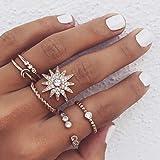 Simsly Vintage Knuckle Heart Ring Gold oder Silber Crystal Joint Knuckle Ring Set mit Cresent für Frauen und Mädchen (6Pcs) (Gold)