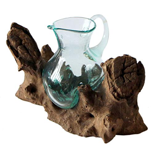 Balibarang-Shop Geschenk Deko Gamal Wurzelholz Kanne Glas Vase Wurzel Holz Teakholz Glas Krug M (Große Glas-krug-vase)