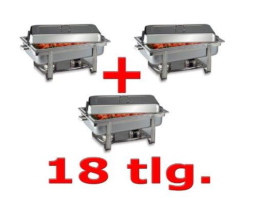 SET 3 x Chafing Dish 9L. Edelstahl inkl. 3 x GN 1/1 Speisewärmer Warmhaltegerät 9 Liter Chafing Dish