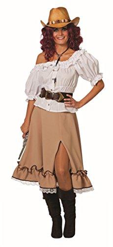 Damen Kostüm Zubehör brauner Rock Cowgirl Karneval Fasching Gr.48 (Damen Kostüm Cowgirl)