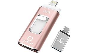 QARFEE Memoria USB Universal de 32 GB, Pen Drive Tipo C Micro USB Unidad de Almacenamiento Externo U Disk para iPhone/iPad/iPod/Mac/iOS/Android teléfono móvil y Ordenador, Color Rosa