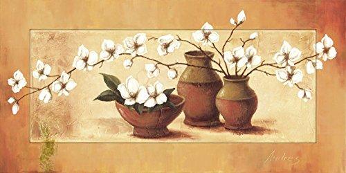Artland Modell-Rahmen Wand-Bild gerahmt mit Motiv A. S. Weiße Kirschblüten in roten Vasen II Stillleben Vasen & Töpfe Botanik Malerei Orange 51,4 x 101,4 x 1,6 cm A1XU (Garderobe Wohnzimmer Kirsche)