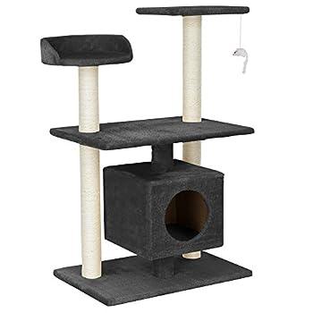 [en.casa] chats arbre à chat (env. 60 x 40 x 95 cm)(gris) paniers douillets / plateformes d'observation / sisal / avec de nombreuses possibilités de jouer et de câliner