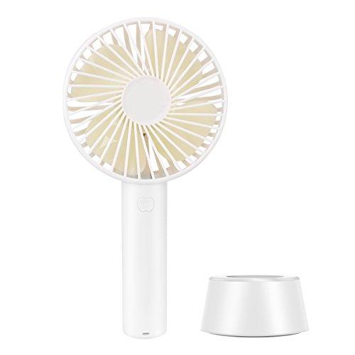 Mini Ventilator, Rheshine Mini USB Handventilator Tragbarer Ventilator Wiederaufladbarer mit Batterie 3 Geschwindigkeitsstufen 10 cm Durchmesser, für Zuhause, Büro, Schreibtisch Reisen und Draußen (Weiß)