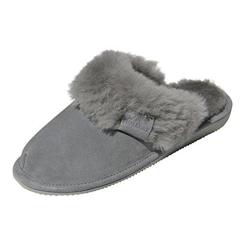 Hollert Leather Lammfell Hausschuhe - Malibu Damen Pantoffeln Fell Schuhe, Grau, 39 EU