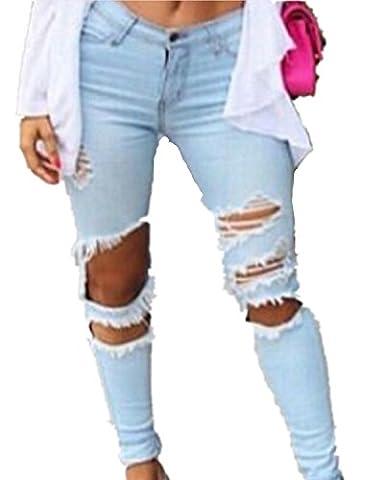 EMIN Damen Skinny Jeanshose Dennim mit hoher Taille Detail Bleistifthose Hüftehose Leggings mit löchern
