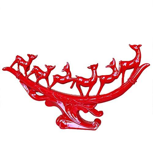 RQZQ Ornamente Home New Chinese Style Harz Deer Figuren Ornamente Kreative Red Deer Miniatur Handwerk Home Weinschrank Dekoration Hochzeitsgeschenke