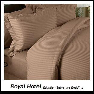Royal Hotel Baumwollmischung faltenfrei Blatt 650-thread-count Streifen-Bettlaken-Set Full Taupe