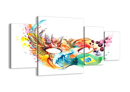 Bild auf Leinwand - Leinwandbilder - Vier Teile - Breite: 160cm, Höhe: 90cm - Bildnummer 3036 - vierteilig - mehrteilig - zum Aufhängen bereit - Bilder - Kunstdruck - - Rio Karneval Kostüm Bilder