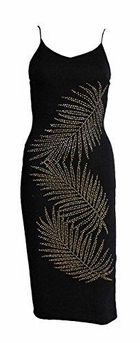 Mix lot der neuen frauen Riemchen Ärmel Blätter gedruckt Gold verzierte sexy midi Körper con elegantes Kleid Damen Abend lässig tragen seidig Kleidergröße 36-42 Schwarz