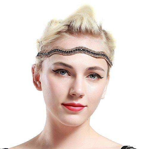 BABEYOND 1920er Stirnband Flapper Haarband Kristall Perlen Stirnband Great Gatsby Motto Party Accessoires 1920s Flapper Zubehör Elastisches Haarband Art Deco (Silber) (Gatsby Stirnband Schwarz)