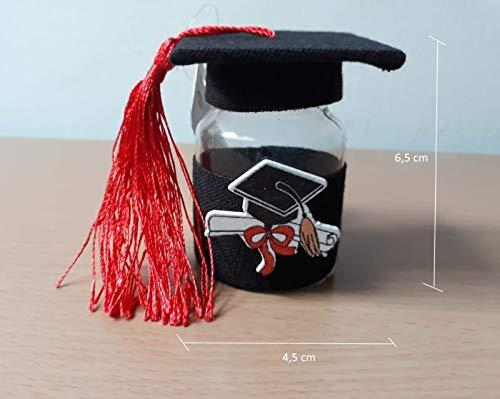 IT 12 Bomboniere a Forma di Boccetta plastica Porta Confetti con Nappina e Tocco Laurea confettata segnaposto - Idea Regalo
