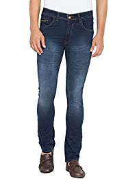 Flying Port Men's Cotton Lycra Danim Blue Slim Fit Casual Jeans