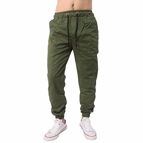 Herren Hose Xinan Herrenhosen Jogging Hose Casual Jogger Sportwear Baggy Bequeme Pants Sportwear Männer Outdoor Spleißen Kordelzug Hosen (L, Armee Grün) (Grüner Kordelzug Hose)