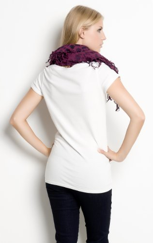 Maison Scotch Weißes Shirt mit Print und stylischem Schal Weiß
