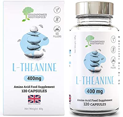 L Theanine | 400mg per Capsule | 120 Vegan Capsules | ONLY Ltheanine NO Fillers | 4 Months Supply | by Brainpower Nootropics®