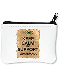 Vintage Keep Calm Support Guatemala Billetera con Cremallera Monedero Caratera